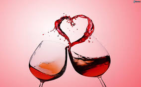 heart and wine glasses